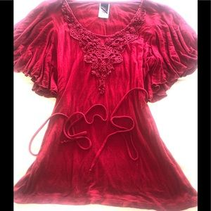 Wrapper Red Lace Blouse